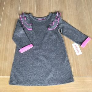 Gray & Pink Cat & Jack Dress & Necklace Set Sz 4t